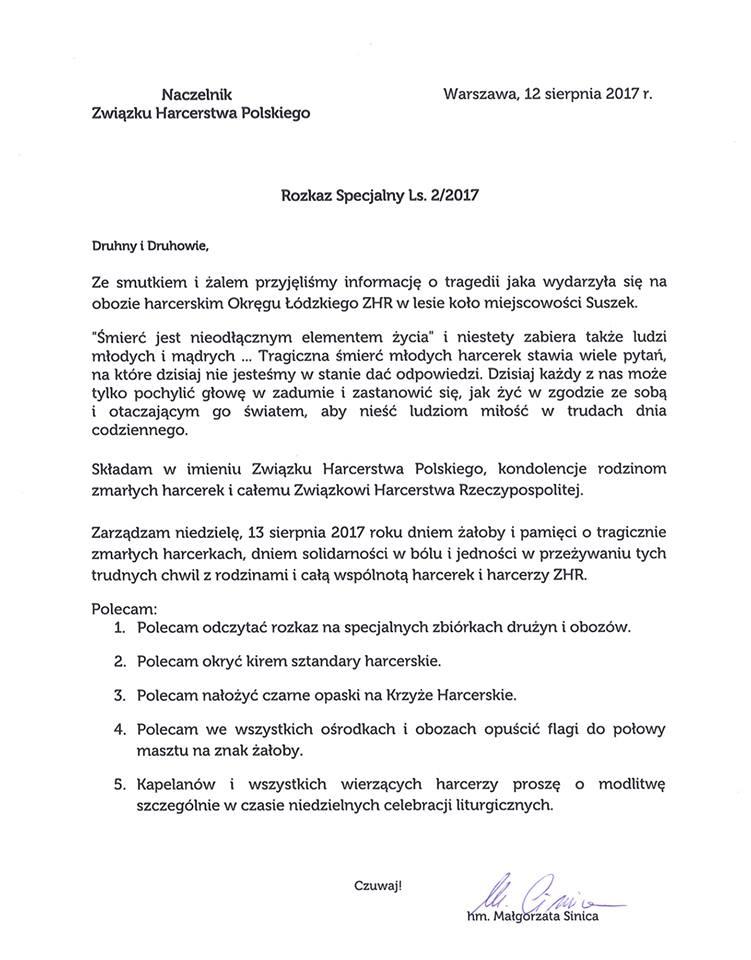 Rozkaz Specjalny Ls. 2/2017 Naczelnika ZHP